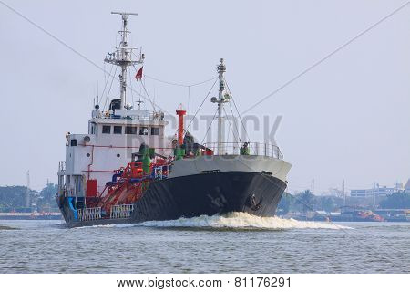 Gas Lpg Container Tanker Ship Running In River Use For Petrochemical Gas Energy In Water Transportat