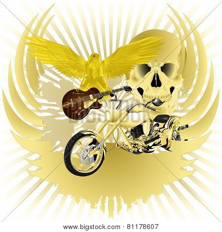 Rock N Roll Background And Golden Chopper