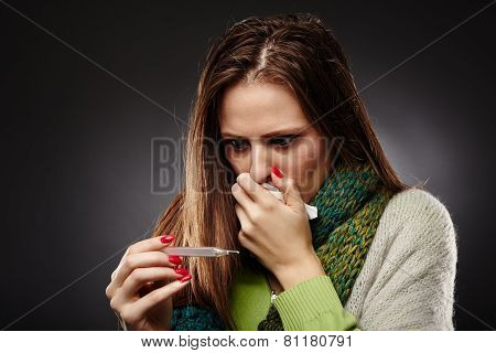 Worried Sick Woman With Flu