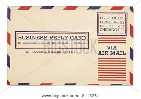 Vintage United States Airmail Business Reply Cardvintage United States Airmail Business Reply C