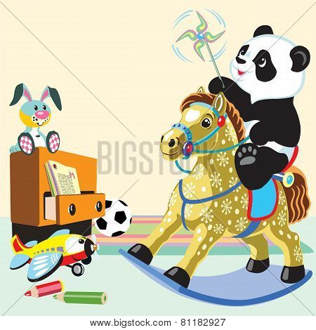 cartoon panda riding a rocking horse
