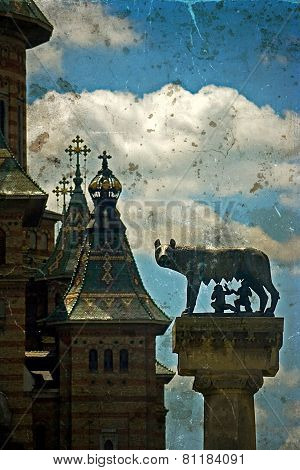 Statue With Cathedral, Wolf, Remus And Romulus. Timisoara, Romania