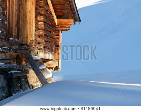 snowed mountain hut in the Austrian mountains