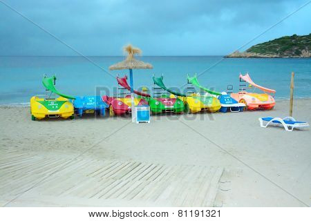 Beach With Toy Water Vehicles At Sant Elm