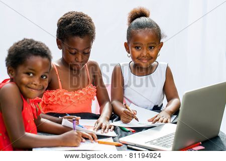 Three African Fiends Spending Time Together Drawing.