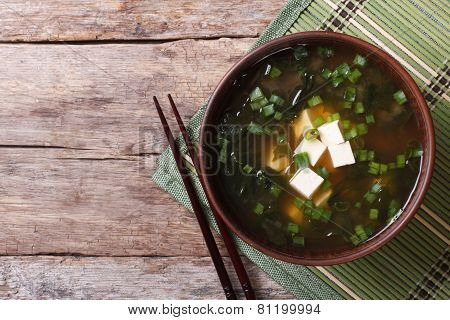 Japanese Miso Soup On The Table. Top View Of A Horizontal