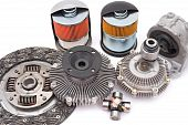 some different auto spare parts for motor cars poster