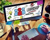 Businessman Leadership Management Digital Communication Manage Concept poster