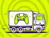 illustration of truck free and fast delivering joystick to customer on green background. Line art design for web site advertising banner poster board and print. poster