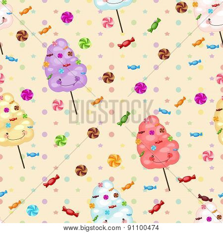 Seamless pattern of sweets cotton candy lollipops little colored stars circles. Baby gift seamless background of cotton candy candy. poster