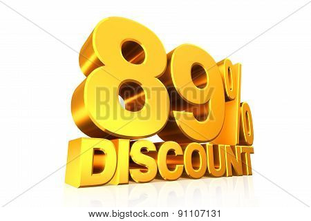 3D render gold text 89 percent discount on white background with reflection. poster