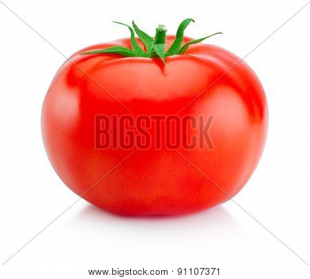 One Juicy Red Tomato Isolated On White Background