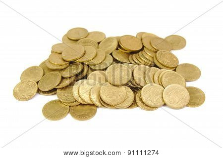 Bunch of old Spanish coins isolated on a white background. One peseta.