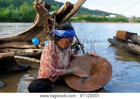 Gold Diggers In Indonesia On An Island Borneo