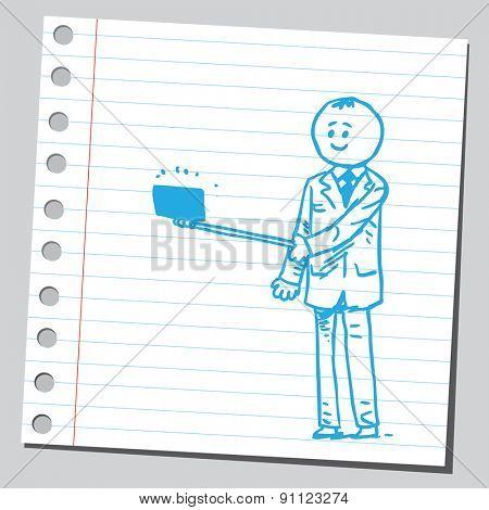 Businessman with selfie stick