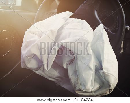 Front Airbag Deflated From Car Accident