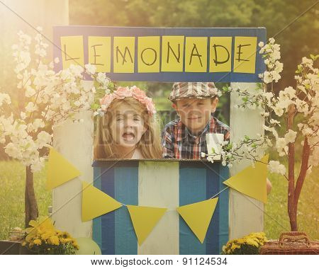 Entrepreneur Business Kids Selling Lemonade At Stand