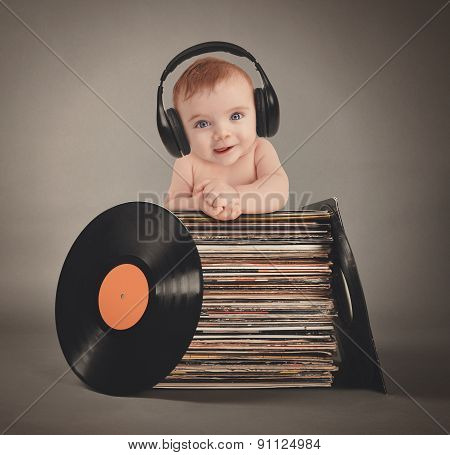 Music Baby With Headphones And Party Records