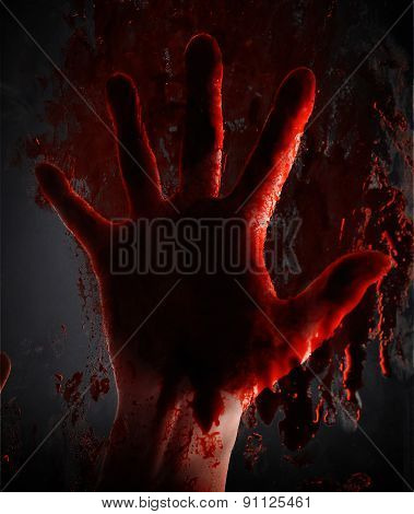 Scary Blood Hand On Window At Night