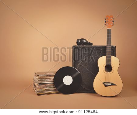 Music Records And Guitar Vintage Background