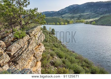 sandstone cliff and cove - Horsetooth Reservoir near Fort Collins, Colorado, at springtime