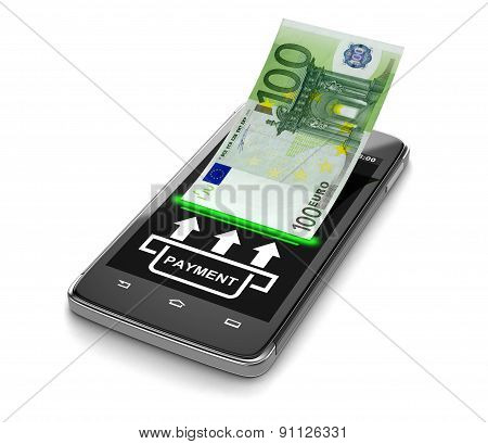 Touchscreen smartphone with euro (clipping path included)