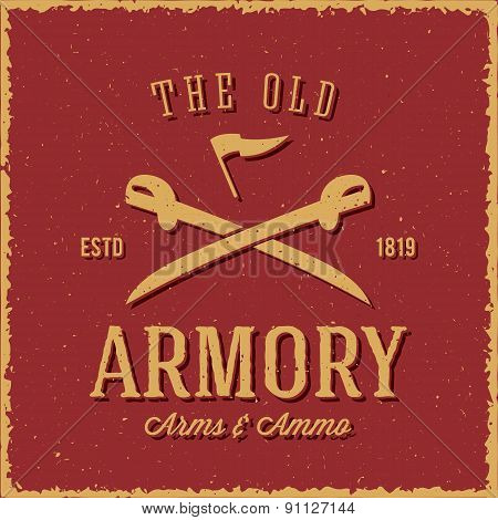 Old Armory Arms and Ammo Abstract Vintage Label, Card, or Logo Template