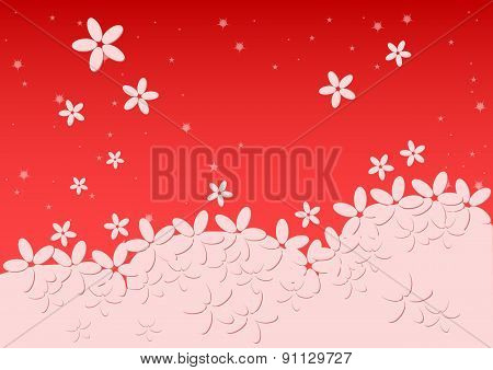 Kiddie Background. Meadow With Light Falling Flowers. Red Color