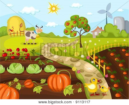 vector illustration of a cute harvest card poster