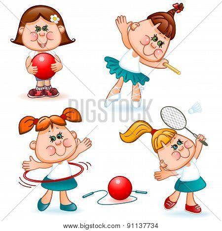 sports school girl set. gymnastics ballet and badminton. Vector illustration