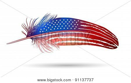 Isolated Feather On White Background. American Flag