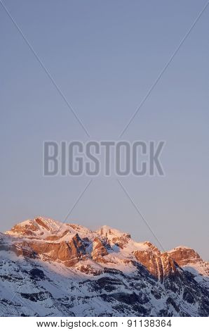 Winter in Ordesa National Park, elevated peaks, left to rigth, are Sum de Ramond (3254 m.), Monte Perdido (3355 m.) and Cilindro de Marbore (3325 m.), Pyrenees, Huesca, Aragon, Spain.