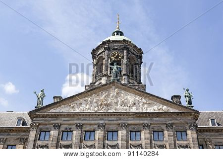 Pediment Of Dutch Royal Palace In Amsterdam
