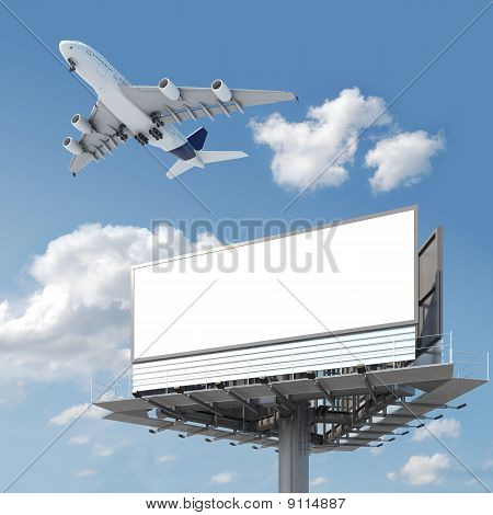 Blank Billboard With Airplane On The Sky