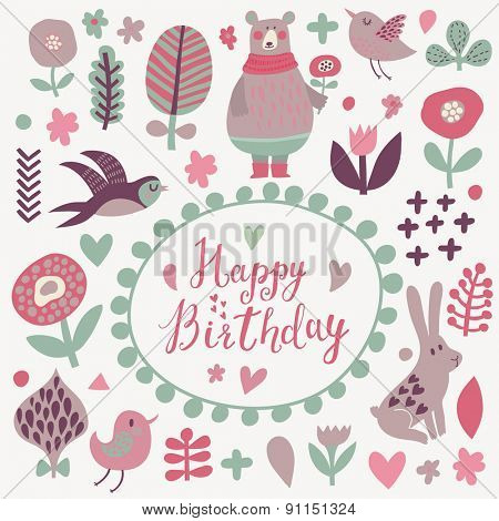 Happy birthday - lovely vector card. Awesome cartoon collection in vector. Concept set with birds and animals. Swallow, rabbit, bear, flowers and bird in sweet colors in vector