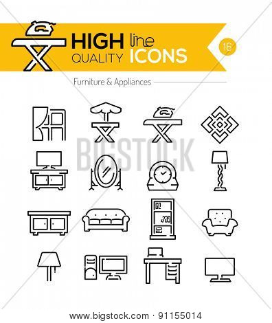 High Quality Furniture and Appliances line icons