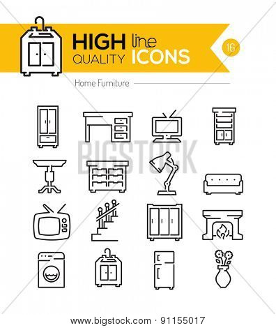 High Quality Home Furniture line icons three