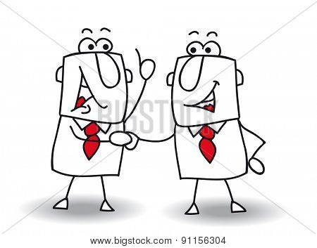 Hello boy. two businessmen shaking hands.It's ok ! I swear to you !