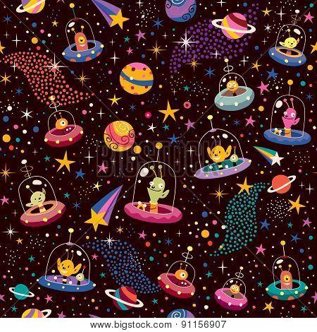 cute aliens pattern