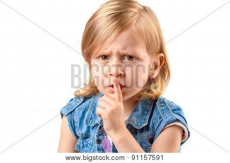 Cute Girl Making Hush Sign