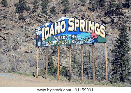 Colorful Idaho Springs Entrance Sign