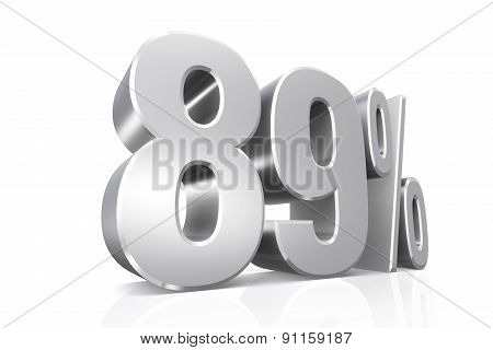 3D render text in 89 percent in silver on white background with reflection. poster