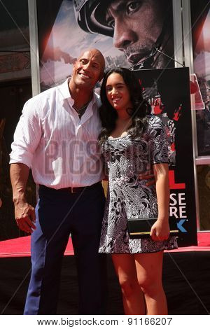 LOS ANGELES - MAY 19:  Dwayne Johnson, Simone Alexandra Johnson at the Dwayne Johnson Hand and Foot Print Ceremony at the TCL Chinese Theater on May 19, 2015 in Los Angeles, CA