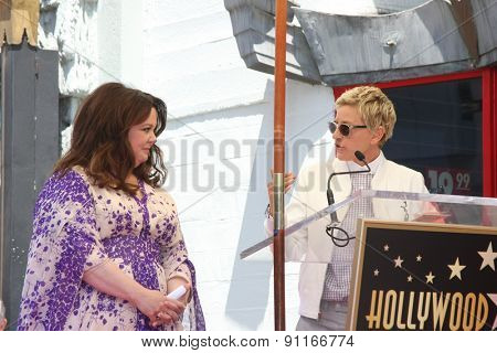 LOS ANGELES - MAY 19:  Ellen DeGeneres, Melissa McCarthy at the Melissa McCarthy Hollywood Walk of Fame Ceremony at the TCL Chinese Theater on May 19, 2015 in Los Angeles, CA