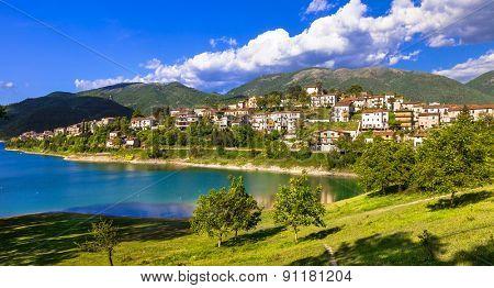 Scenic lake Turano and village Colle di Tora, Itay