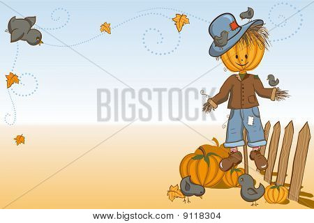 Thanksgiving or Halloween greeting card - Scarecrow protecting pumpkins