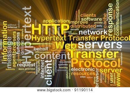 Background concept wordcloud illustration of hypertext transfer protocol HTTP glowing light
