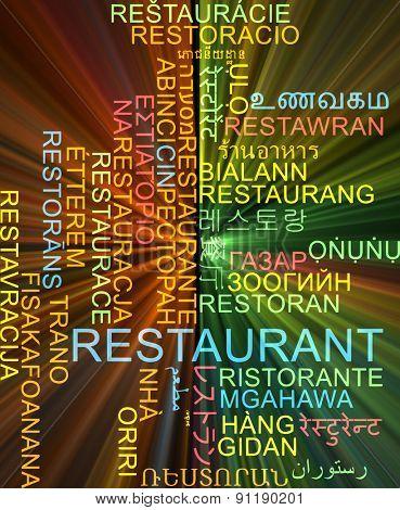 Background concept wordcloud multilanguage international many language illustration of restaurant glowing light