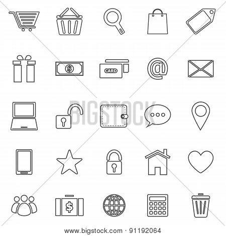 Ecommerce Line Icons On White Background