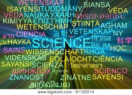 Background concept wordcloud multilanguage international many language illustration of science glowing light